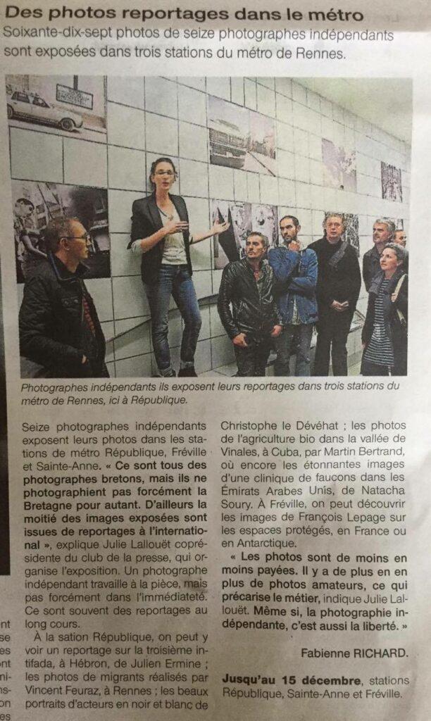 Article Ouest-France - Clic Clac - Club de la presse Bretagne - Metro Rennes